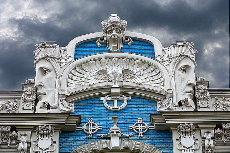 cloudy day in riga art nouveau architecture